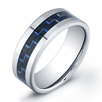8mm Tungsten Carbide ring with black/blue carbon inlay