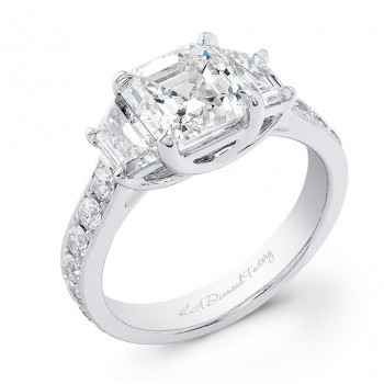 Three Stone Asscher Cut Engagement Ring