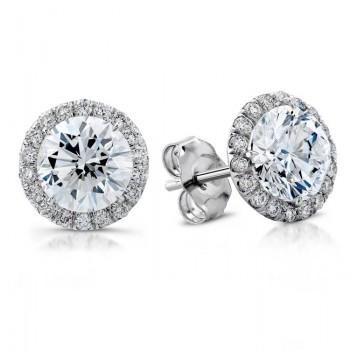 Halo Diamond Earrings (Multiple Sizes)