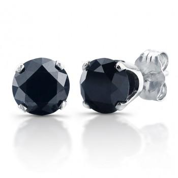 14kt White Gold 1ctw Black Diamond Stud Earrings