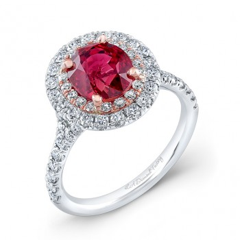 Double Halo Engagement Ring with Ruby Center